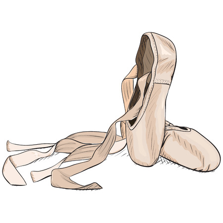 Hand-drawn style pointe shoes. EPS8 vector illustration. Illustration