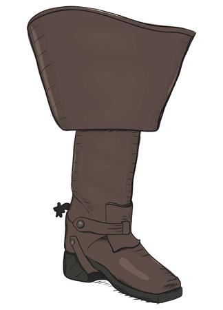 mosquetero: Arranque del viejo estilo con espuelas. Ilustración vectorial EPS8