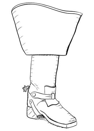 mosquetero: Arranque del viejo estilo con espuelas. Ilustraci�n vectorial EPS8
