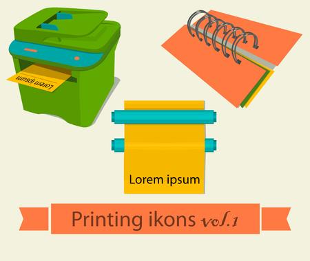 package printing: Print icons set. EPS 10 vector illustration Illustration
