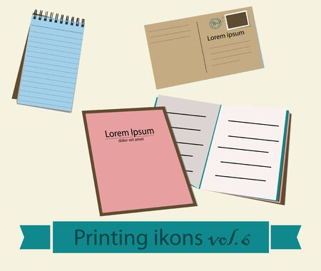 printing proof: Print icons set. EPS 10 vector illustration Illustration