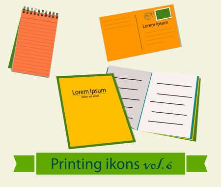 newspaper stack: Print icons set. EPS 10 vector illustration Illustration