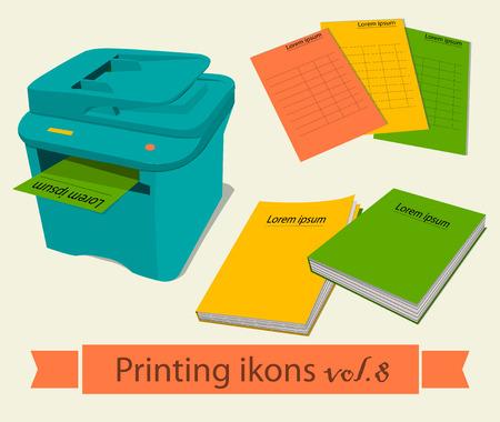 desktop printer: Print icons set. EPS 10 vector illustration Illustration
