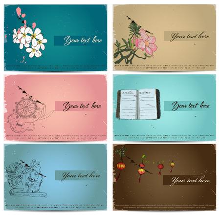 pink plumeria: vintage business cards set. Vector illustration EPS10