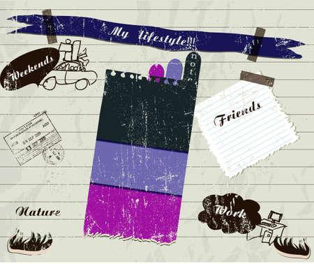 sew tags: scrapbook details set.  vector illustration EPS 10 Illustration