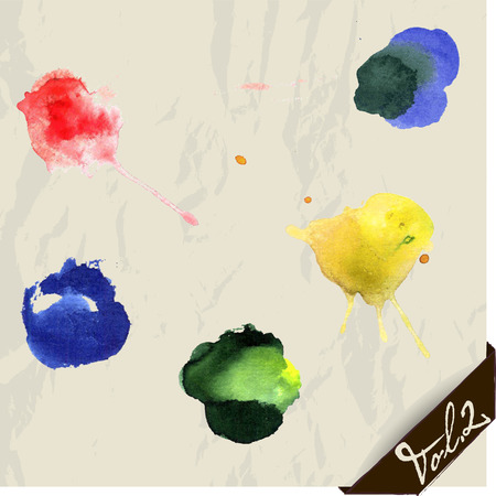 orange splash: Hand drawn watercolor splashes set. Vector illustration EPS8.