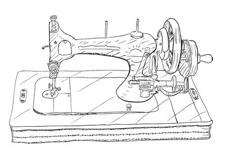 apparel part: Vintage style sewing machine on white background. Vector illustration EPS8 Illustration
