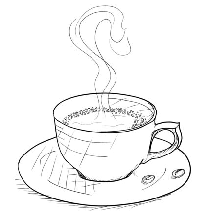 coffeecup: Vintage style cup of coffe on white background. Vector illustration EPS8