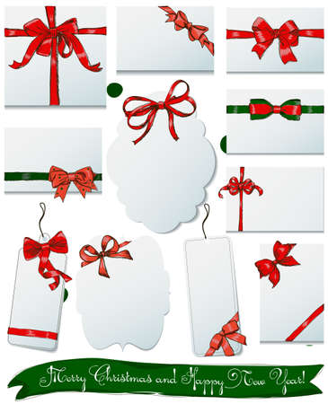 moños de navidad: Set of vintage gift bows for Christmas and New Year. Vector EPS8 Vectores