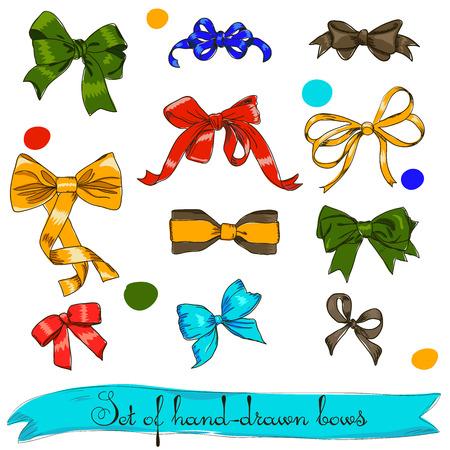 pastel tone: set of vintage bows. Vector illustration EPS8 Illustration