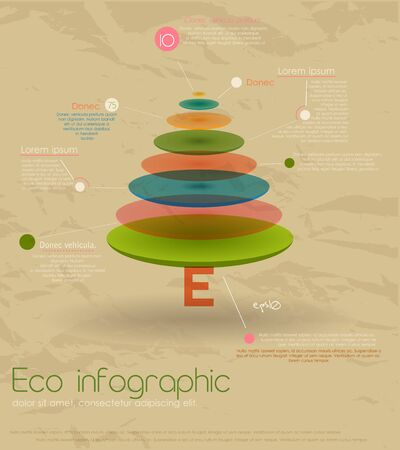 firtree: Vintage eco infographic with fir-tree. Vector illustration EPS10 Illustration
