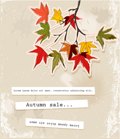 painted the cover illustration: Card with autumn leaves 2. Vector illustration EPS10