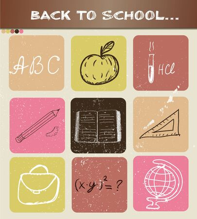linked hands: Back to school hand drawn poster. Vector illustration EPS10