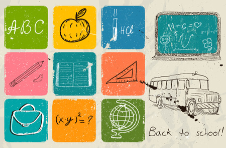 human geography: Back to school hand drawing poster. Vector illustration EPS10