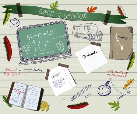 linked hands: Back to school scrapbooking poster Illustration