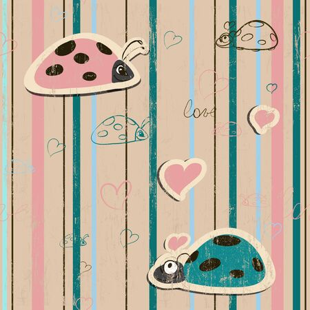 love wallpaper: vector seamless wallpaper with ladybirds in love Illustration