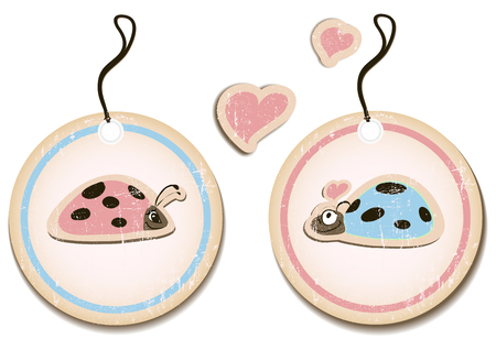 vector set of tags with ladybirds in love. Illustration
