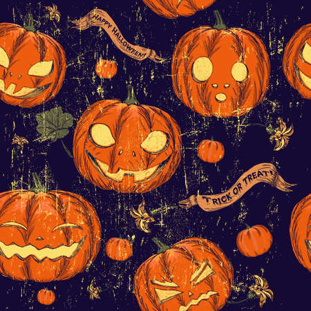 drakula: Halloween seamless background with pumpkin. Vector illustration