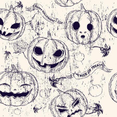 drakula: Halloween seamless background with pumpkin.