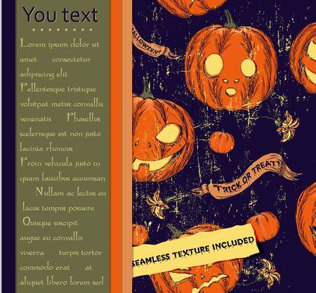 drakula: Halloween card and seamless texture with pumpkins.
