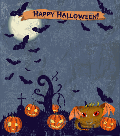 halloween poster: Halloween poster with cute monster.