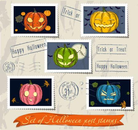 harvest moon: Vintage halloween post stamps set.