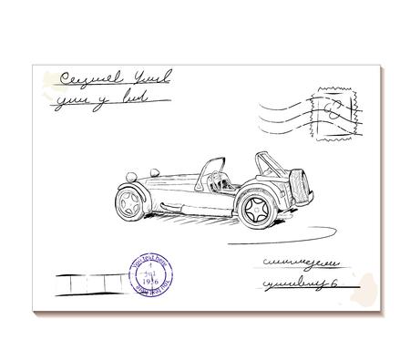 Vintage letter with old car Illustration