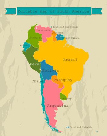 Mapa editable América del Sur con todos los países. Vectores