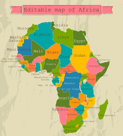 Bewerkbare kaart van Afrika met alle landen.