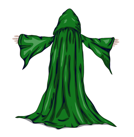 adherent: Colorful vector illustration of a wizard or a monk.