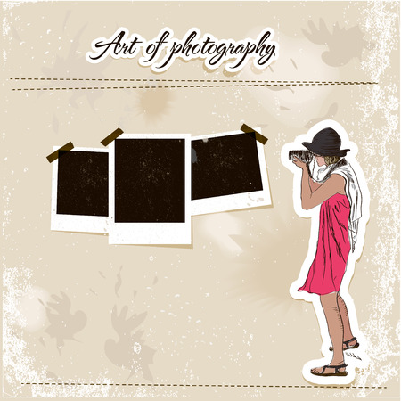 Scrap template with fashion photographer girl