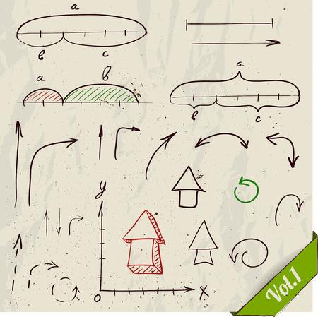 math set: Set of arrows and math elements Illustration