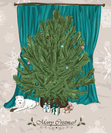 samoyed: Vintage Christmas card with Christmas tree, presents and cute puppy