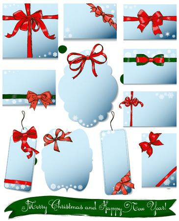 moños de navidad: Set of vintage gift bows for Christmas and New Year Vectores