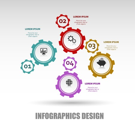 paper art projects: Business Gear background with infographic and icon