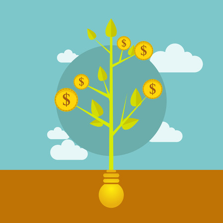 australian money: money growing on tree, business illustration Illustration