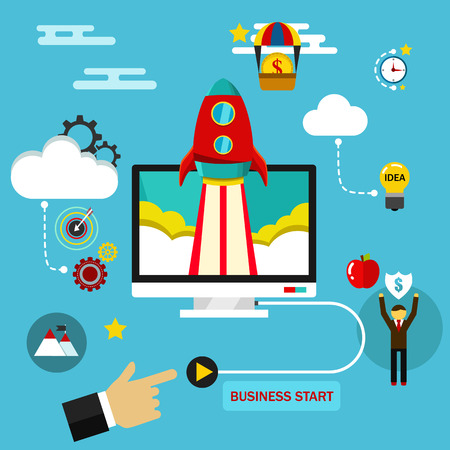 emprendimiento: La puesta en marcha de negocios concepto. Ilustraci�n plana
