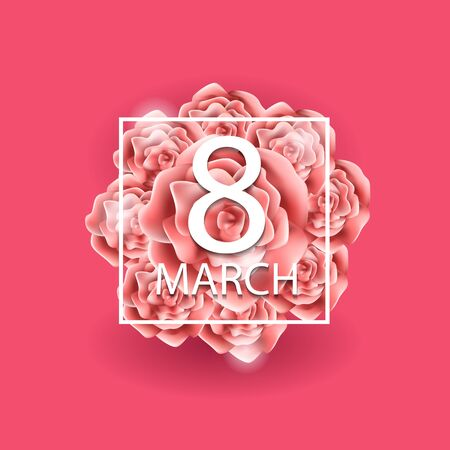 March 8 greeting card. Background vector template