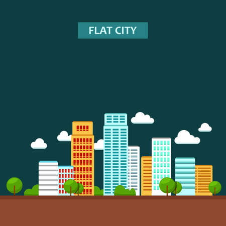 urban city: Vector flat illustration of city urban landscape. Illustration