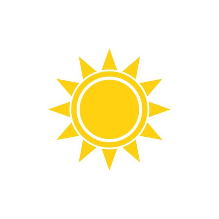the sun sign: Flat sun summer vector bright icon on white