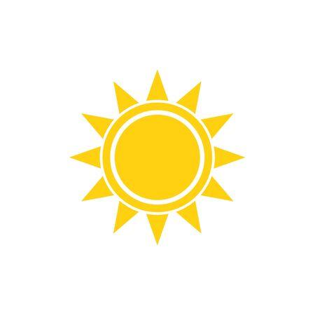 sonne: Wohnung Sonne Sommer Vektor hellen Symbol auf weißem Illustration