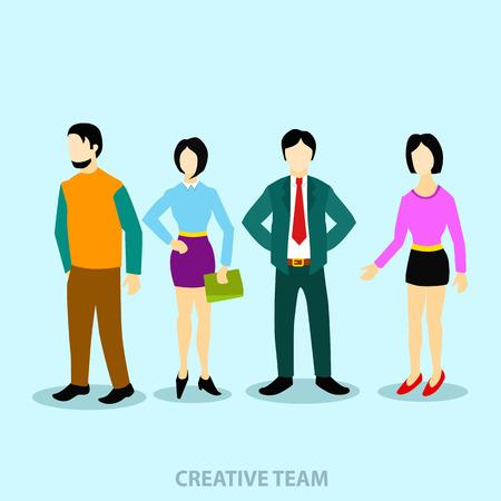 conflictos sociales: La gente del grupo plana y equipo de la ilustración de negocios
