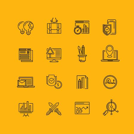 leadership potential: Modern thin line icons set for business Illustration