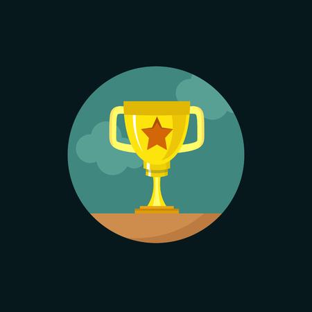 premios: copa de oro. ilustraci�n vectorial de dise�o moderno plano, el concepto de calidad para la web banners, web y aplicaciones m�viles, la infograf�a. icono del vector aislado en el fondo del gradiente