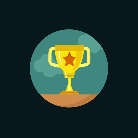 premios: Golden cup. Modern flat design vector illustration, quality concept for web banners, web and mobile applications, infographics. Vector icon isolated on gradient background Vectores