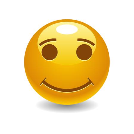 flirt: Smiling emoticon with smiling eyes on white background