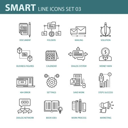 entrepreneurship: Modern thin line icons set for business, infographic and different projects