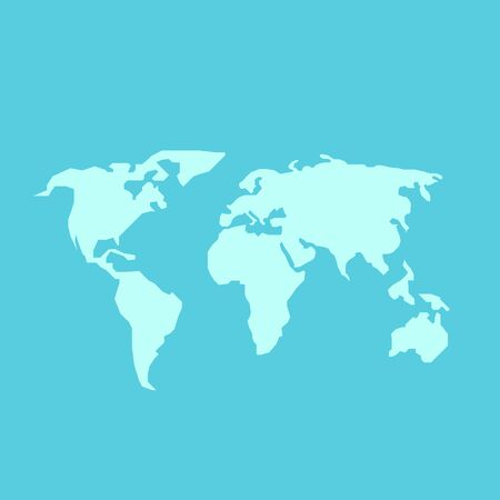 world design: Blue World Map Vector in flat style Illustration
