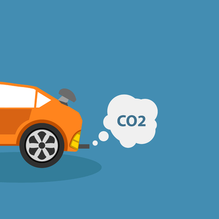 exhaust pipe: Car emits carbon dioxide co2 flat vector illustration Illustration