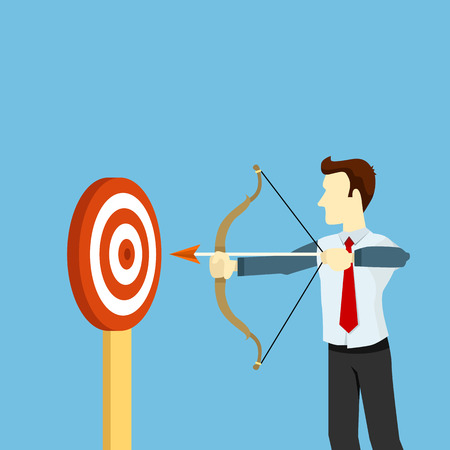 mid distance: Cartoon businessman with bow and arrow. Target, flat vector concept